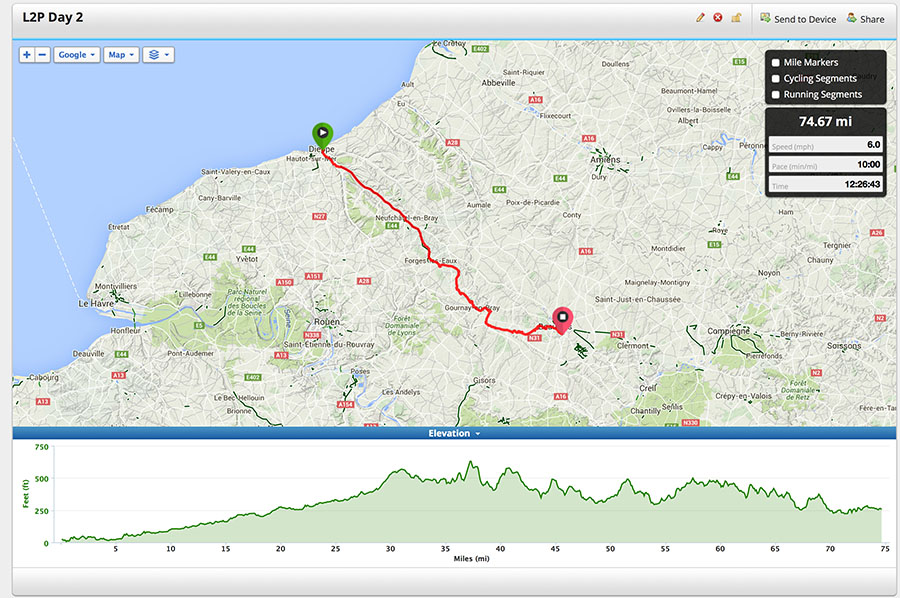 London to Paris Day 2 Route