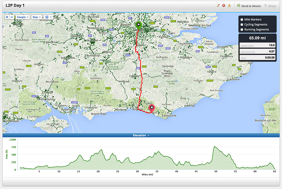 London to Paris Day 1 Route